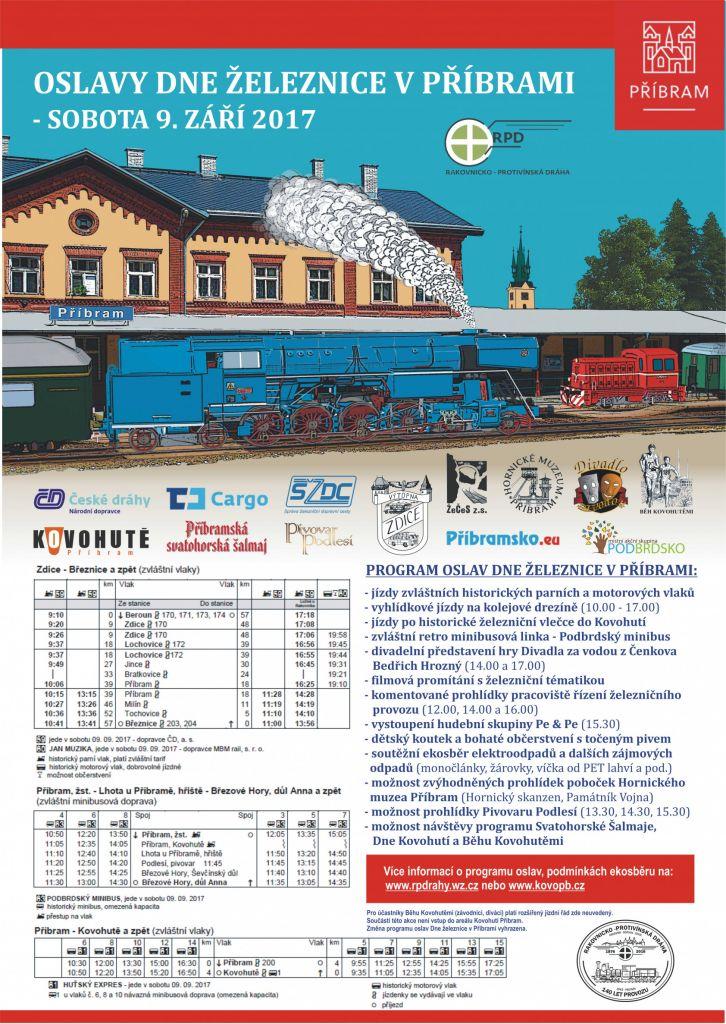 Den železnice v Příbrami a jízdy parních vlaků do Březnice - pozvánka 1